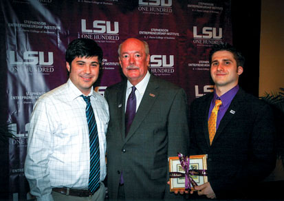 LSU Chancellor Mike Martin with Bret Esquivel and Darren Kattan